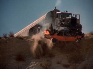 "Is this screen grab from Never Give a Trucker an Even Break? Or is it from Steven Spielberg's Duel?  The answer is ""yes"""