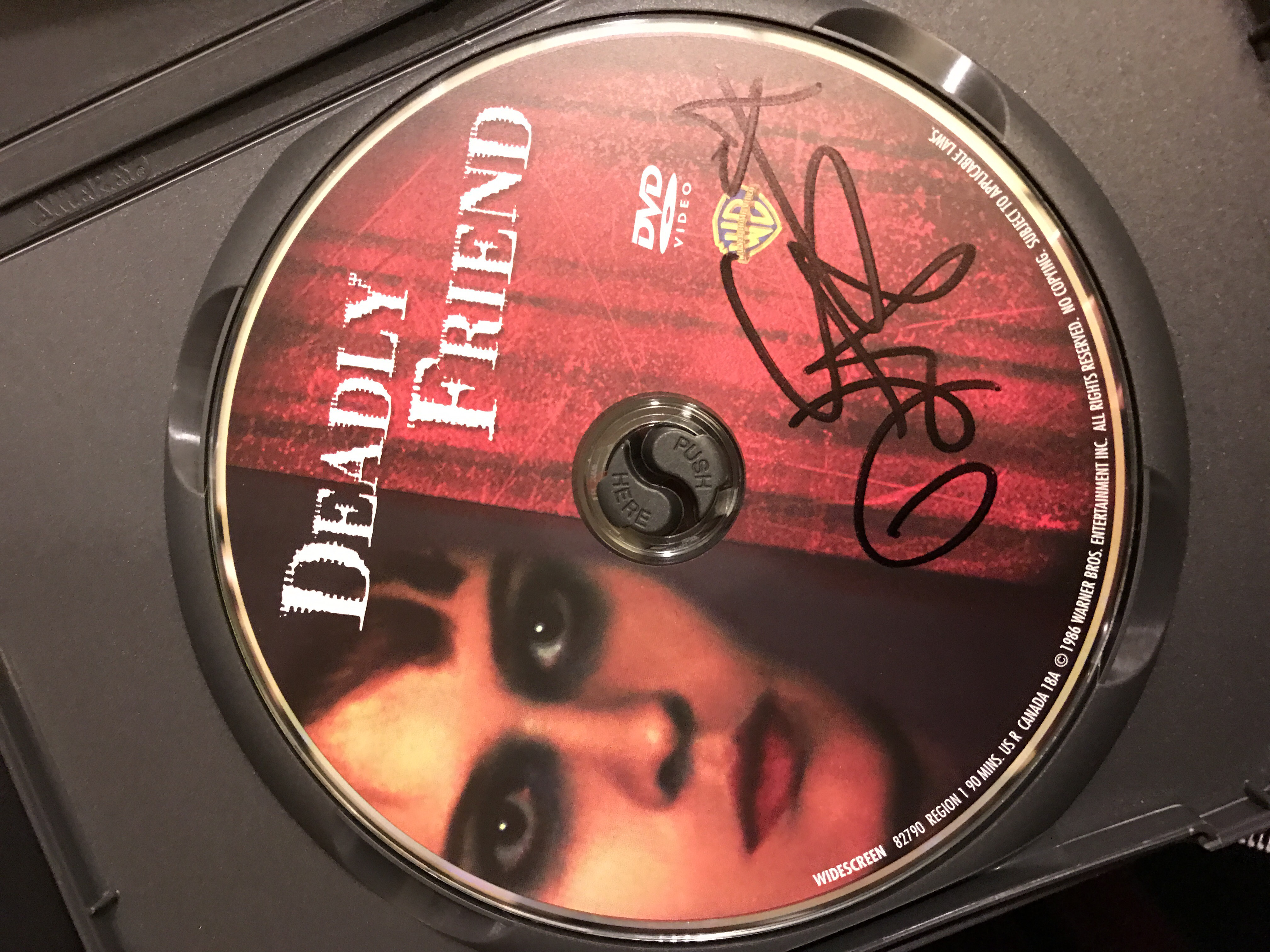 """""""Deadly Friend"""" disc signed by actress Kristy Swanson"""